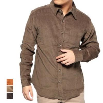 シャツ カジュアルシャツ コーデュロイ 長袖 レギュラーカラー 無地 綿 コットン100% トップス メンズ ブラック キャメル カーキ SALE セ