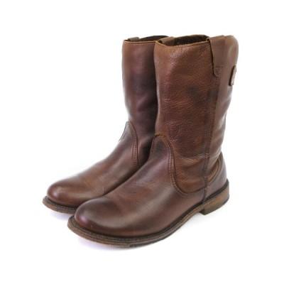 【中古】ヴィンテージ VINTAGE ブルックスブラザーズ ミドル ブーツ レザー ローヒール ラウンドトゥ 茶 ブラウン系 7 M 靴 レディース 【ベクトル 古着】