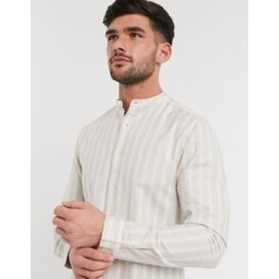 エイソス メンズ シャツ トップス ASOS DESIGN slim fit grandad oxford shirt in ecru stripe Ecru