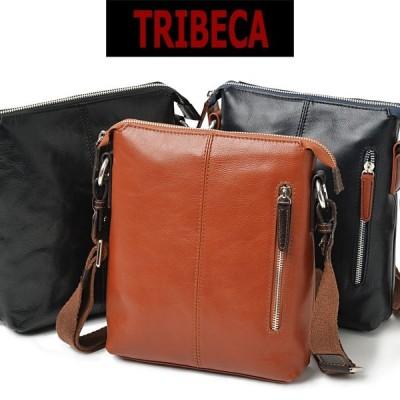 ショルダーバッグ メンズ 革  本革 TRIBECA トライベッカ 斜めがけ バッグ 肩掛け 薄マチ 本革 レザー
