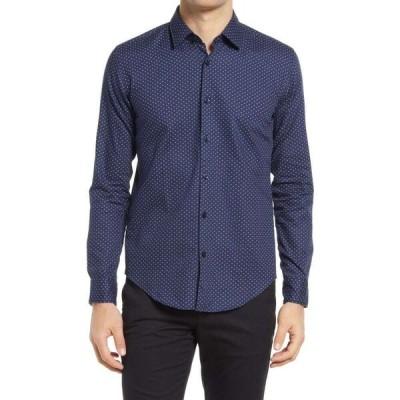 ヒューゴ ボス BOSS メンズ シャツ トップス Ronni Slim Fit Dot Button-Up Shirt Dark Blue