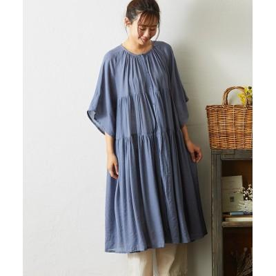 ティアード前開きギャザーワンピース (ワンピース)Dress