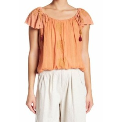 Free People フリーピープル ファッション トップス Free People Womens Top Orange Size Small S Peasant Tie Embroidered