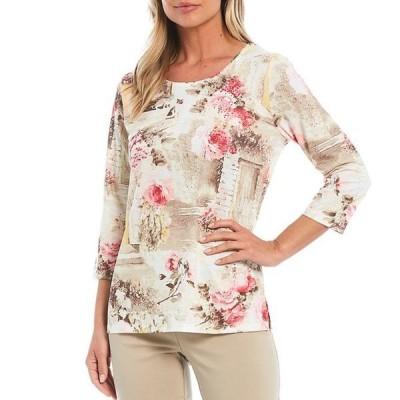 アリソン デイリー レディース Tシャツ トップス Country Garden Print Rhinestone Embellished Detail 3/4 Sleeve Round Neck Top