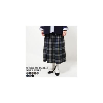 2020AW オニールオブダブリン/O'NEIL OF DUBLIN ローウエストプリーツラップスカート 80cm ロングスカート NOD0853 レディース