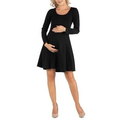 24セブンコンフォート ワンピース トップス レディース Simple Long Sleeve Knee Length Flared Maternity Dress Black