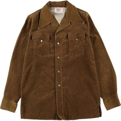 70年代 TIME OUT WEST オープンカラー 長袖 コーデュロイシャツ USA製 メンズL ヴィンテージ /eaa136822