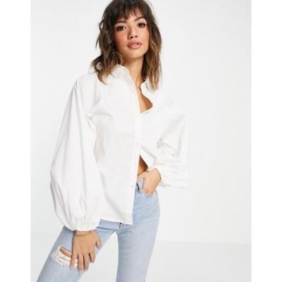 エイソス レディース シャツ トップス ASOS DESIGN long volume sleeve shirt in cotton white