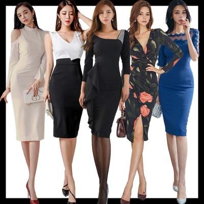 2021「 新作追加 Special Offer」4枚送料無料 高品質ワンピースドレス韓国ファッションOL正式な場合礼装ドレスセクシーなワンピース一字肩二点セット