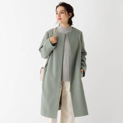 オペーク ドット クリップ OPAQUE.CLIP Lux-Veil wool mix ノーカラーロングコート (オリーブグリーン)