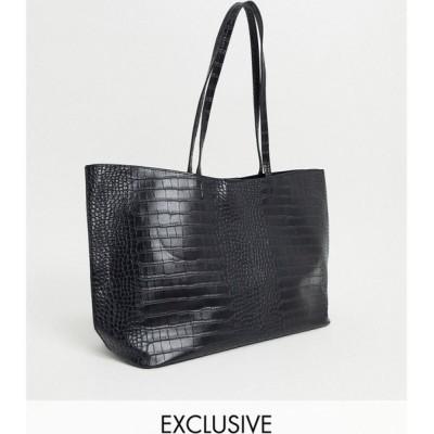 グラマラス Glamorous レディース トートバッグ バッグ Exclusive oversized tote bag in black croc with removable inner pouch ブラック