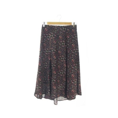 【中古】ディスコート Discoat Parisien スカート フレア ロング ヘム フィッシュテール 小花柄 F 黒 ブラック /AO20 ☆ レディース 【ベクトル 古着】