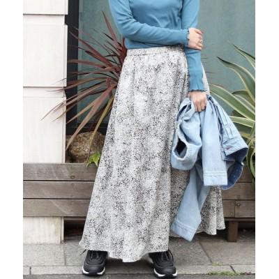 coen レディース 【WEB限定カラー】プリントサテンロングスカート(サテンスカート/プリントスカート)# ブラック S