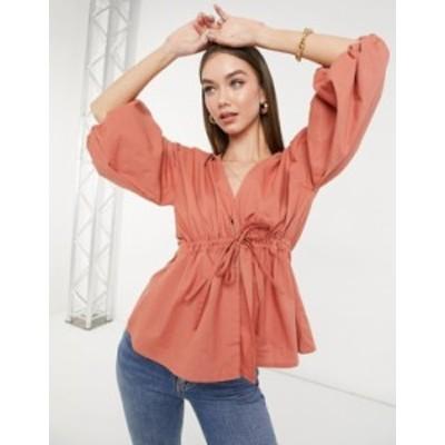 エイソス レディース シャツ トップス ASOS DESIGN tie waist kimono top with puff sleeves in dusty pink Dusty pink