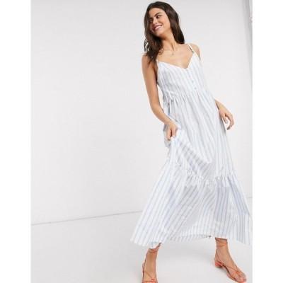 エイソス ASOS DESIGN レディース ワンピース ティアードドレス button through tiered cotton poplin maxi dress in stripe ブルー/ホワイトストライプ