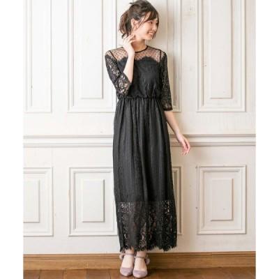 ドレス chaco/レース×ドットチュール セミロングドレス