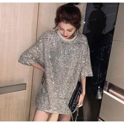 Tシャツレディースゆったりトップス女性用半袖ピカピカピカシルバーピカブラック目覚しいシルバーフワフワタイプ着る心地いいロックスター風