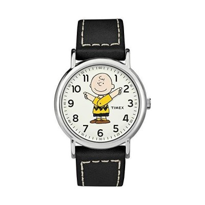 Timex Unisex TW2T60900 Weekender 38mm Peanuts Charlie Brown Leather Quick-Release Strap Watch【並行輸入品】