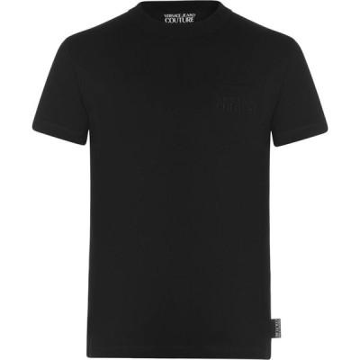 ヴェルサーチ VERSACE JEANS COUTURE メンズ Tシャツ スリム ロゴTシャツ トップス Slim Fit Logo T Shirt Black