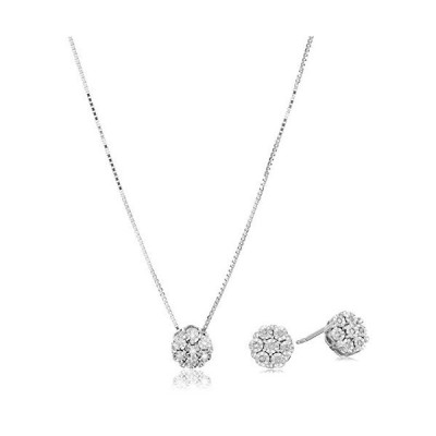 Sterling Silver Diamond Miracle Plate Pendant Necklace and Stud Earrings Jewelry Set【並行輸入品】