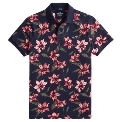 【並行輸入品】【メール便送料無料】ホリスター メンズ ポロシャツ ( 半袖 ) Hollister Stretch Floral Polo (ネイビーフローラル) 【ポロ ポロシャツ 】