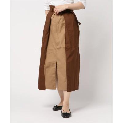 JUGLANS / 綿ツイル 配色タックスカート WOMEN スカート > スカート