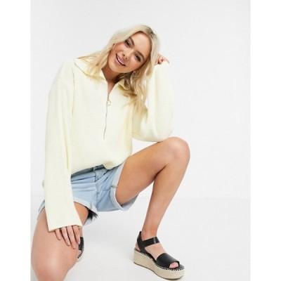 エイソス レディース ニット・セーター アウター ASOS DESIGN oversize sweater with zip front detail and open collar in cream