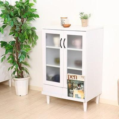 カップボード/キッチン収納 【ホワイト】 幅60cm 扉付き収納棚 脚付き 『アルト』【代引不可】