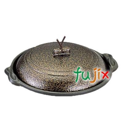 庵陶板 φ18浅皿 いぶし金 1個 M10-455 アルミ合金製 フッ素3コート