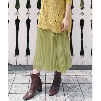 VICKY/ビッキー レザーライクプリーツスカート グリーン M