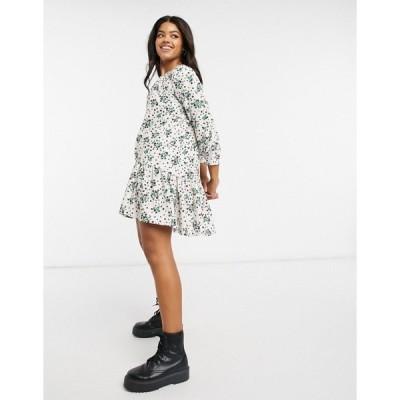 エイソス レディース ワンピース トップス ASOS DESIGN mini pep hem volume sleeve smock dress in cream base floral Cream based floral