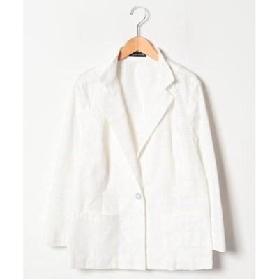 LAPINE ROUGE/ラピーヌ ルージュ ハイカウントブロードレース刺繍ジャケット ホワイト 44
