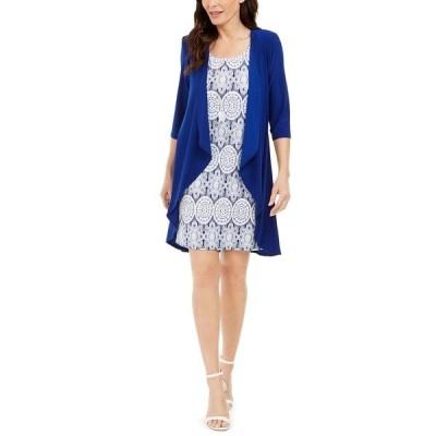アールアンドエムリチャーズ ワンピース トップス レディース Jacket & Printed Necklace Dress Royal Blue/White
