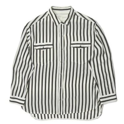 マカフィー MACPHEE ロンドンストライプ ロングスリーブシルクシャツ 12-01-34-01242 38 ブラック/オフホワイト 長袖 ブラウス トゥモローランド トップス