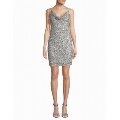 Adrianna Papell アドリアーナ パペル ファッション ドレス Adrianna Papell Womens Dress Silver Size 8 Sheath Lace Sequin Mesh
