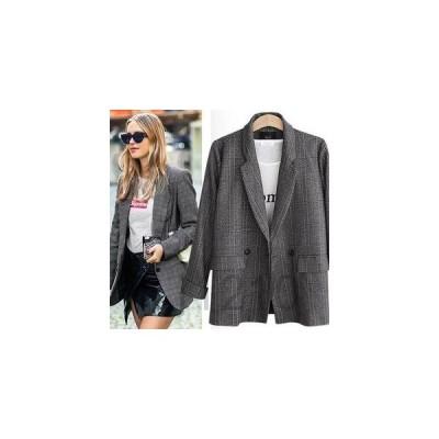 コートレディースアウターテーラードジャケットジャケットスーツジャケットチェック柄格子柄ポケットありカジュアルブレザー通勤薄手