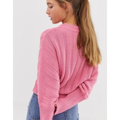 エイソス レディース ニット&セーター アウター ASOS DESIGN chunky sweater in wide rib PINK