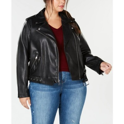 リーバイス コート アウター レディース Trendy Plus Size  Faux-Leather Belted Moto Jacket Black Snake