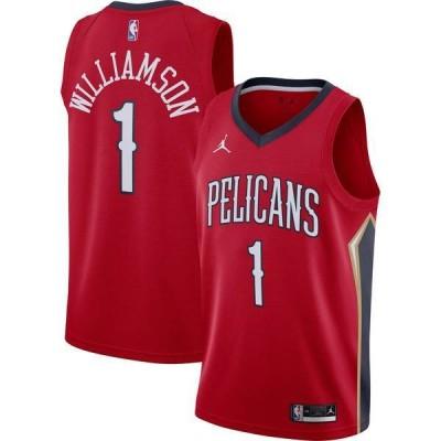 ナイキ メンズ シャツ トップス Jordan Men's New Orleans Pelicans Zion Williamson #1 Red 2020-21 Dri-FIT Statement Swingman Jersey