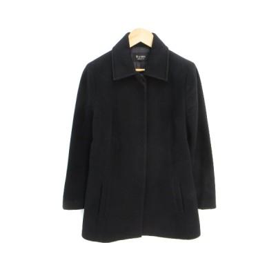 【中古】エムプルミエ M-Premier コート ステンカラー ショート丈 アンゴラ ウール混 シングルボタン M 黒 ブラック /FF1 レディース 【ベクトル 古着】