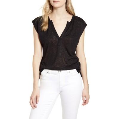 ボベー Tシャツ トップス レディース Pleat Back Slub T-Shirt Black