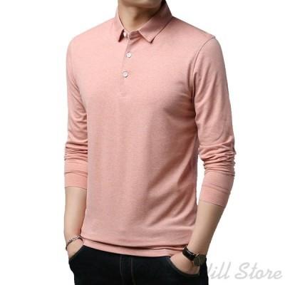 ポロシャツ Tシャツメンズ長袖無地 襟付き人気 大きいサイズ コットンカジュアル