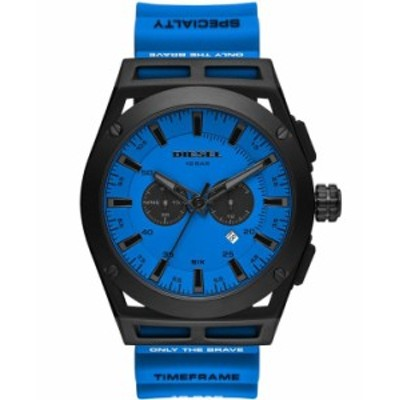 ディーゼル メンズ 腕時計 アクセサリー Men's Timeframe Chronograph Blue Silicone Strap Watch 48mm Blue
