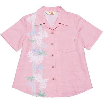 かりゆしウェア(沖縄アロハシャツ)レディース MANGO 竹シーサーボーダー オープンシャツ ピンク