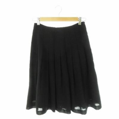 【中古】ナチュラルビューティーベーシック NATURAL BEAUTY BASIC スカート フレア ひざ丈 S 黒 ブラック レディース