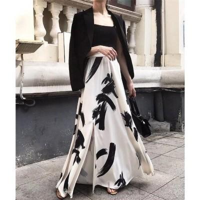 2021新作シフォン マキシスカート 花柄 選べる2丈 ロング丈9分丈 韓国ファッション 春 夏 リボン