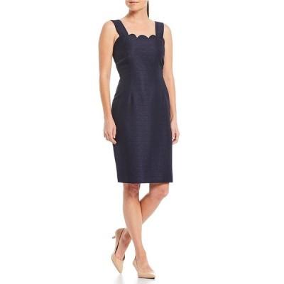 プレストンアンドヨーク レディース ワンピース トップス Sloane Sparkle Suiting Scalloped Sheath Dress Navy