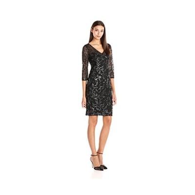 Adrianna Papell レディース V ネック シークイン Sheath ドレス with 3/4 スリーブ, ブラック/Si(海外取寄せ品)