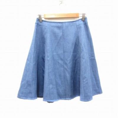 【中古】ナチュラルビューティーベーシック NATURAL BEAUTY BASIC フレアスカート ひざ丈 M 青 ブルー /CT レディース