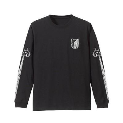 進撃の巨人 調査兵団 袖リブロングスリーブTシャツ BLACK Sサイズ コスパ【予約/5月末〜6月上旬】